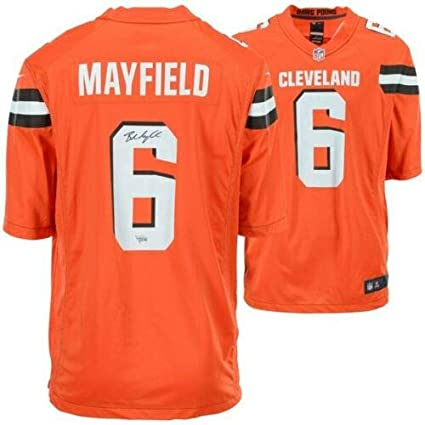 new styles 8e80b d9160 Amazon.com: BAKER MAYFIELD Autographed Cleveland Browns Nike ...