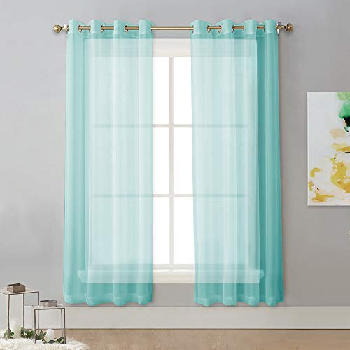 (NICETOWN Sheer Curtains for Bedroom Windows - Nickel Grommet Top Voile Drape Panels for Living Room/Bedroom/Loft (W54 x L72 Inches, Pool Blue, 1 Pair))