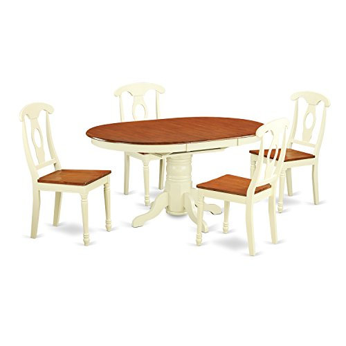 East West Furniture KENL5 WHI W 5 Piece Dining Table Set