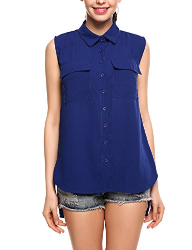 Zeagoo Women Chiffon Sleeveless Blouse Button Down Shirt High Low Work Tank Tops - Sleeveless Button Waist Shirt