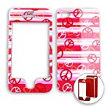 Apple iPhone 4 - 4S (AT&T/Verizon/Sprint) Transparent Design Peace Signs and Hearts on Pink iPhone 4 Hard Case/Cover/Faceplate/Snap On/Housing/Protector