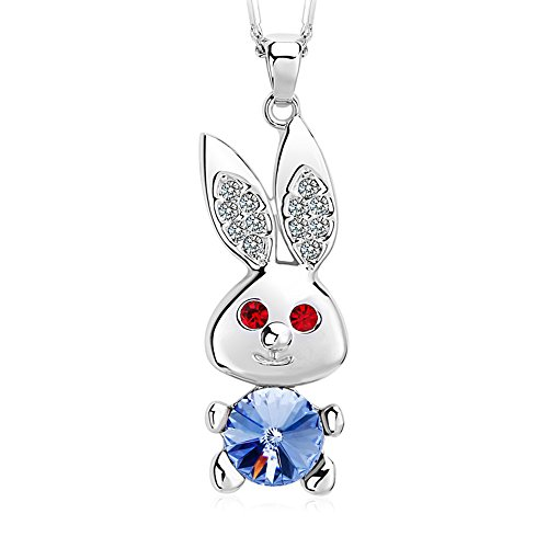 FANSING Mothers Day Gifts Jewelry Crystal Rabbit Pendant Alloy Chain Necklaces for Women Blue (Cute Mushroom Costume)