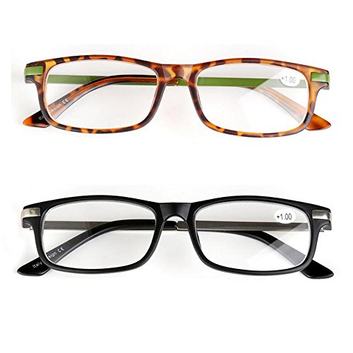 WEARKAPER 2 Pairs Stainless Steel Frame TR90 High quality resin lenses Reading glasses (+3.5, 2 Pairs Mix)