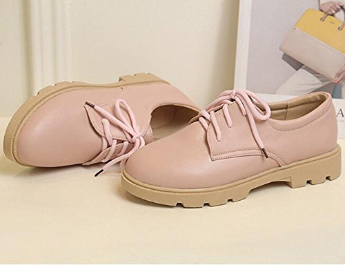 Summerwhisper Kvinners Uformell Runde Toe Lave Top Lace-up Lav Hæl Plattform Oxfords Sko Rosa