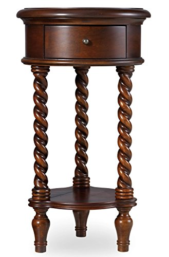 Hooker Furniture 14'' Inlay Top Round Accent Table, Maple, Cherry/Chestnut Burl Veneer