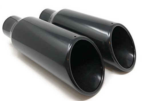 Black Powder Coat Rolled Angle Cut Exhaust Tips 2 1/2