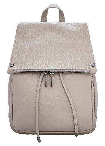 DeFeliceBags LETIZIA - Bolso mochila para mujer Beige cuero 34x28x12 BEIGE