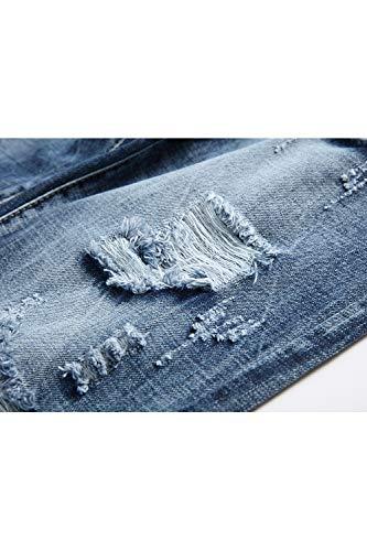 Addosso I Da Uomini Denim Pantaloni Jeans Dritto Strappati Blu Occasionale Vosujotis t80PI
