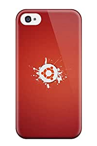 Iphone 4/4s Hard Back With Bumper Silicone Gel Tpu Case Cover Ubuntu