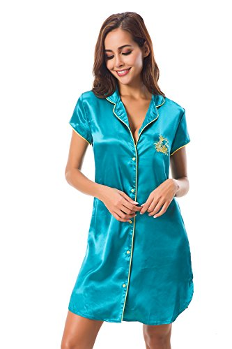 Womens Boyfriend Style Short Sleeve Silk Like Satin Sleepwear Long Sleep Shirt Loungwear Silk Sleep Shirt for Women
