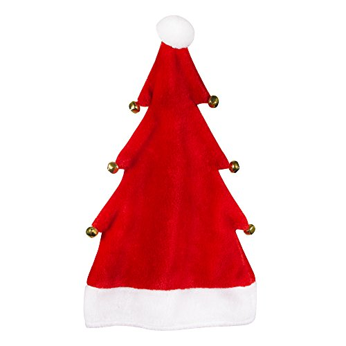 Plush Red Christmas Tree Santa Hat with Jingle Bells (Red Tree Hat w/Bells)]()