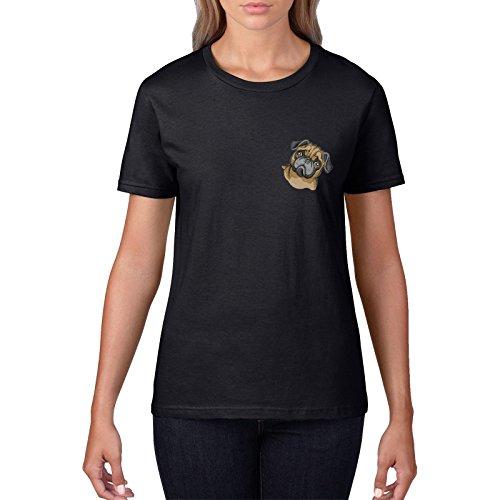 Pug Pocket T Shirt - Camiseta Bordada con Logotipo de la Cara, para Hombre y Mujer, diseño de Animales: Amazon.es: Ropa y accesorios