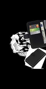 KLONGSHOP // Tirón de la caja Cartera de cuero con ranuras para tarjetas - Dragon Fight Totem Tattoo - Sony Xperia Z3 D6603 //