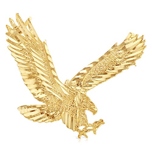 Ioka - 14K Yellow Gold Eagle Charm Pendant For Necklace or Chain