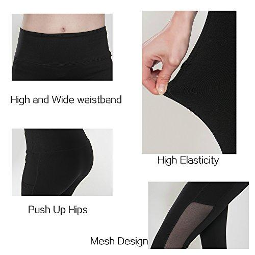Running Girl Side Mesh Ankle Leggings Women's Tights Active Yoga Pants Fitness Workout Capris (M, Black)