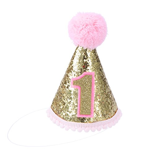 TOYMYTOY Glitter Sparkle Princess 1st Birthday Cone Hat with Adjustable Headband for Baby Girl Party Supplies ()