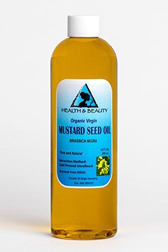 Mustard Oil Unrefined Organic Carrier Cold Pressed Pure 12 oz