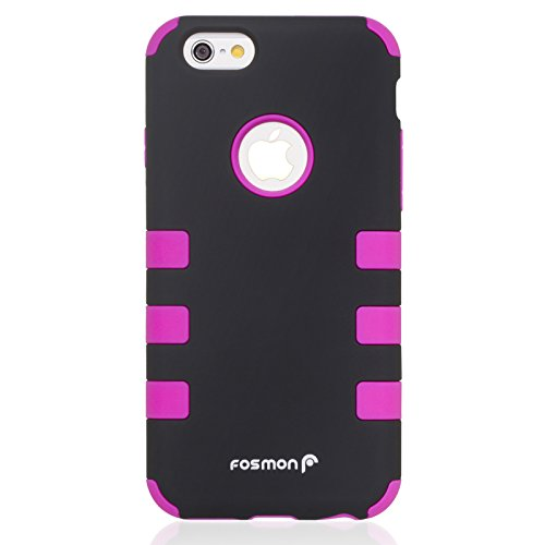 """Fosmon HYBO-CAGE Slim Fit Dual Layer Front and Back Hybrid Case for Apple iPhone 6/6s (4.7"""") (Hot Pink)"""