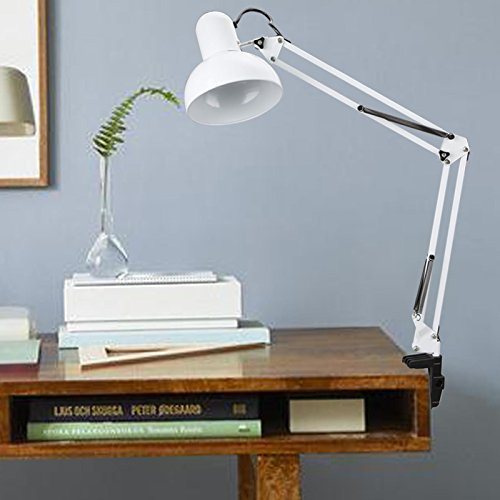 Hindom Swing Arm Desk Lamp Table Clamp Mounted Lamp, Adjustable Arm Drafting Lamps Eye Care Clamp Table Desk Lamp with Flexible Arm and C-Clamp for Office Studio Bedroom (US STOCK) (White) (Arm Incandescent Lamp)