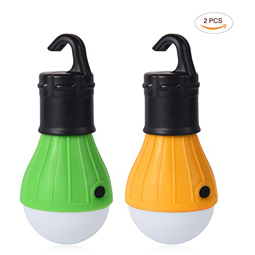 1 Flashlight Watt Led Lantern (LEDGLE 1W LED Camping Lantern Portable Tent Lights Bulb, 3 Brightness Modes, Battery Powered, 2 Pack)