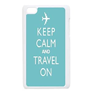 Kweet Keep Calm and Travel on Travel Quotes Ipod Touch 4 Case, {White}