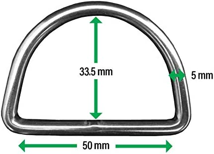 Stainless Steel 316 Marine Grade D Ring Welded 5mm x 50mm Dee Ring