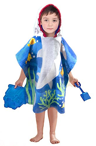 Little Shark 100% Cotton Hooded Towel for 2-6 Years Girls Bath Beach Pool Towel,24 x 48 inches (Blue)