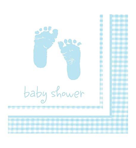 Creative Converting Celebrations 16 Count Beverage Plaid Baby Boy Napkins, - Napkins Blue Beverage Baby