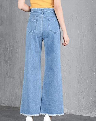 Con Ancha Pierna Botones Bleu De Pantalones Clair Mujer Alta Bolsillos Sueltos Cintura Mujeres Casuales Vaqueros Mezclilla qIAqva