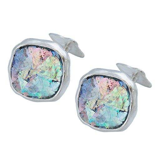 FashionJunkie4Life Mosaic Ancient Roman Glass Cuff Links - 925 Sterling Silver, 1 Pair Men's Cufflinks ()