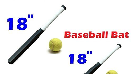18 Inches Wooden Baseball Bat & Soft Tennis Ball Rounders Play Set Garden Sport-Black color for boys girls outdoor UR CHOICE