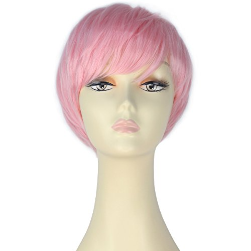 Miss U Hair Women Layered Short Straight Wig Fashion Party Cosplay Wig Hair Pink C352