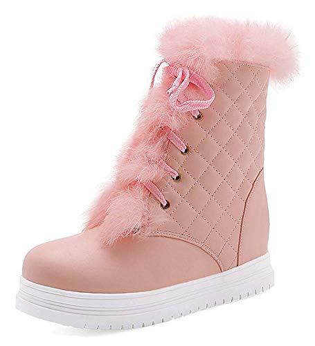 (Women's Warm Round Toe Lace Up Winter Booties Quilted Thick Sole Flat Platform Snow Ankle Boots)