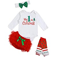 RCPATERN Christmas Outfit Baby Girl My 1st Christmas Letter Romper Tutu Dress with Stripe Leg Warmer