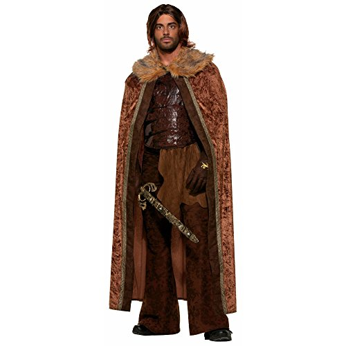 Forum Novelties Men's Medieval Fantasy Faux Fur Trimmed Costume Cape, Brown, One Size