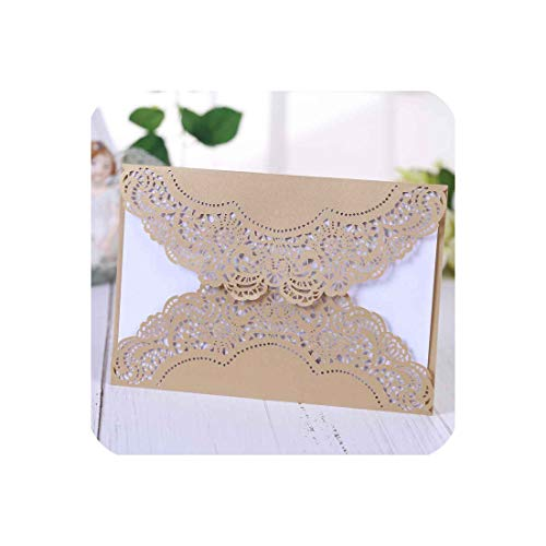 Hollow out Luxury Laser Cut Wedding Invitations elegant Card set Baby Shower With Ribbon Envelope & Seals Party - Baby Invitations Shower Vellum