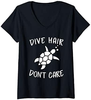 Womens Dive Hair Don't Care Diver Turtle Lover Gift V-Neck T-Shirt