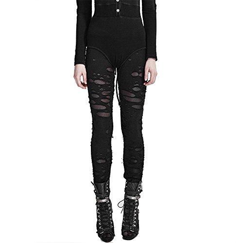 Punk Women Ripped Leggings Gothic Tattered Broken Close-fitting Mesh Leggings (XL, Black)]()