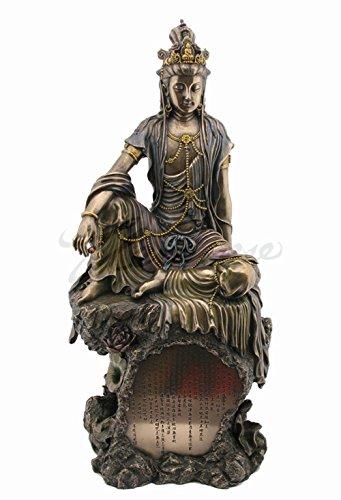 Veronese (ヴェロネーゼ) 般若心経が刻まれた岩の上に座る観音菩薩 仏教 ブロンズ風 置物 フィギュア B07DJ66VHF