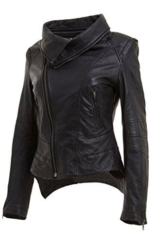 Ladies Black Short Retro Removable Collar Leather Biker Jacket (Genuine Leather Racing Jacket)