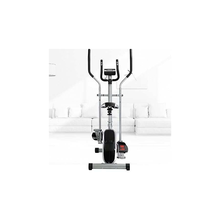 Crystal Fit 2 in 1 Elliptical Trainers Cardio Fitness Exercise Bike Home Gym with Heart Rate Monitor, Adjustable Resistance Dual Trainer (94)