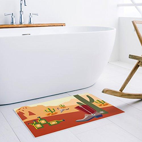 """Fantasy Star Doormat Entrance Mat Floor Door Mats Rug Indoor Cartoon Western Landscape Desert Cowboy Boots Winebottle Bathroom Rubber Non Slip Low Profile Washable Carpet 15.7""""x23.6"""""""