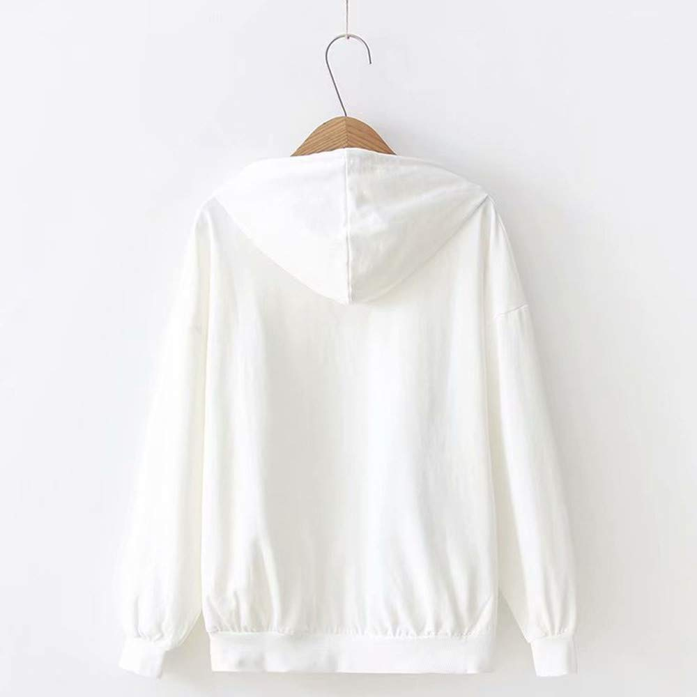 Hosamtel Women Cat Print Hoodie Long Sleeve Drawstring Casual Sweatshirt Hooded Pullover Blouse T-Shirt Tops