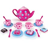 Doll Sized Pink and Blue 18 Inch Doll Tea Pot Set and Dessert Includes 17 Pieces, Perfect for American Girl Dolls | Doll Sized