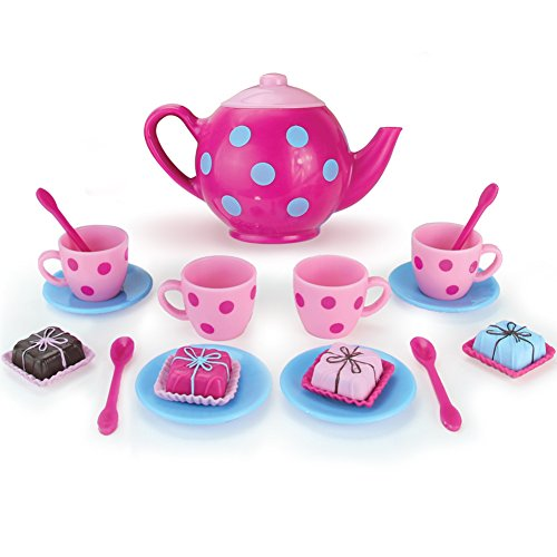 Doll Sized Pink and Blue 18 Inch Doll Tea Pot Set and Dessert Includes 17 Pieces, Perfect for American Girl Dolls | Doll Sized (Set Plastic Tea)