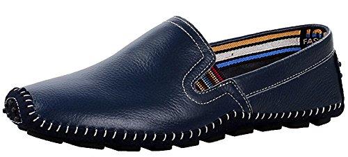 Hw-goods Heren Pure Kleur Lederen Instappers Zachte En Casual Instapschoenen Blauw