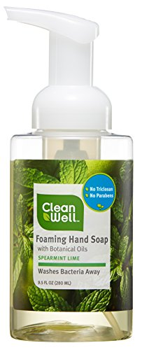 CleanWell Natural Antibacterial Foaming Hand Soap - Spearmint Lime, 9.5 Ounce (Pack of 4) by Cleanwell