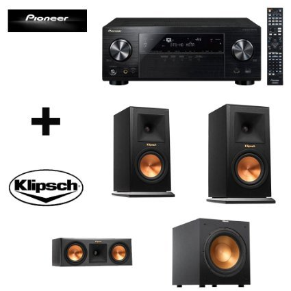 Pioneer VSX-1124 7.2-Channel Network A/V Receiver (Black) + Pair Klipsch Reference Premiere 150 Monitor Speaker with 5.25 inch Cerametallic Cone Woofer (Ebony) + Klipsch R-12SW Powerful 12'' 400 watts Subwoofer + Klipsch RP-250C Reference Premiere 250 Cen