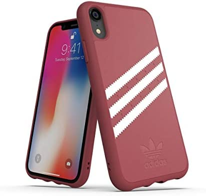 adidas Moulded Suede - Carcasa para Apple iPhone XR, Color Rosa Malva y Blanco