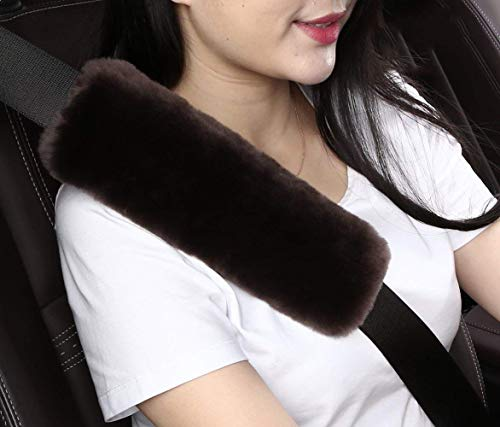 Wool Pad Brown - 2pcs Auto Genuine Sheepskin Seat Belt Covers Pads,Safety Fuzzy Car Seat Belt Strap Cover Neck Cushion Protector Seatbelt Shoulder Pad for Kids Adults in Soft Natural Australia Pure Wool,Dark Brown